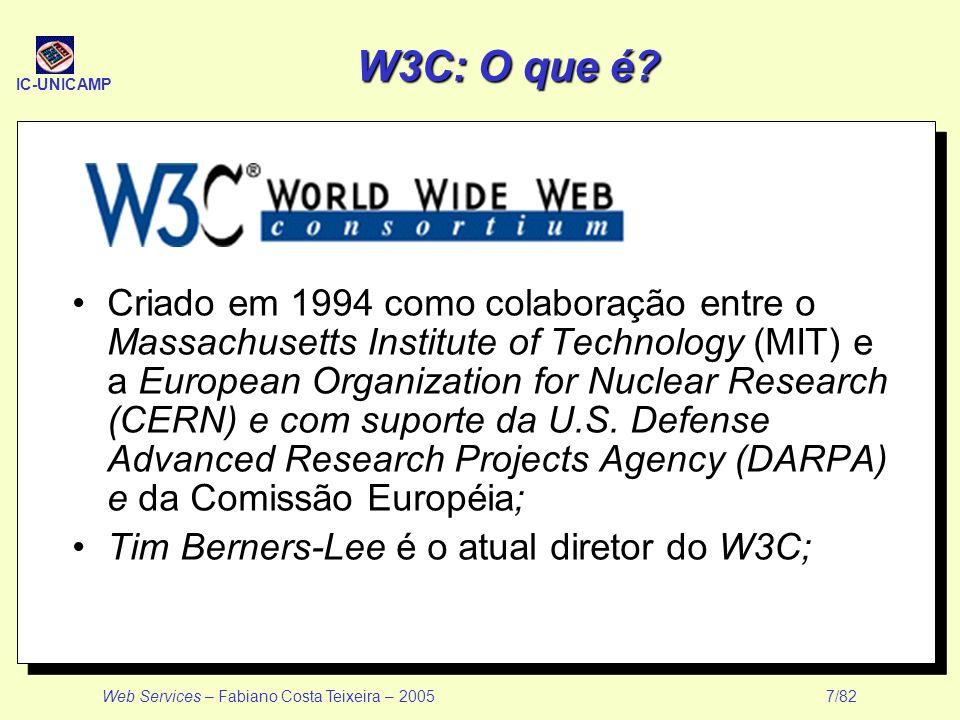 IC-UNICAMP Web Services – Fabiano Costa Teixeira – 2005 7/82 W3C: O que é? Criado em 1994 como colaboração entre o Massachusetts Institute of Technolo