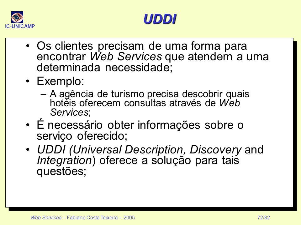 IC-UNICAMP Web Services – Fabiano Costa Teixeira – 2005 72/82 UDDI Os clientes precisam de uma forma para encontrar Web Services que atendem a uma det