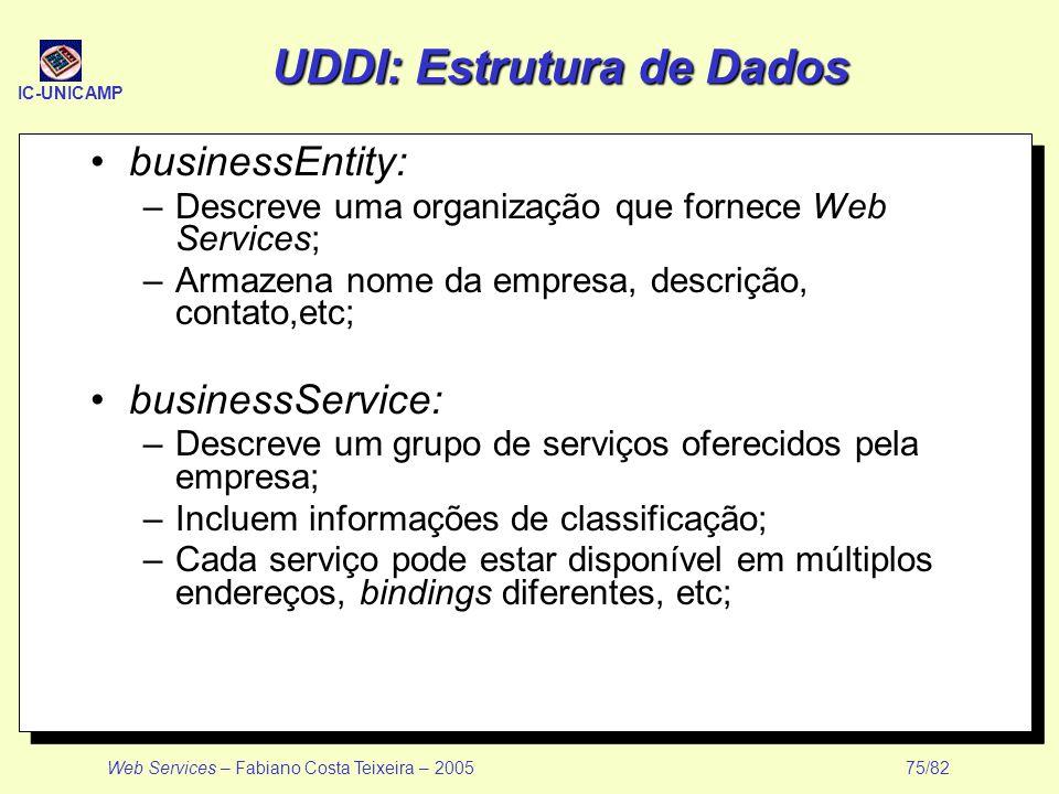 IC-UNICAMP Web Services – Fabiano Costa Teixeira – 2005 75/82 UDDI: Estrutura de Dados businessEntity: –Descreve uma organização que fornece Web Servi