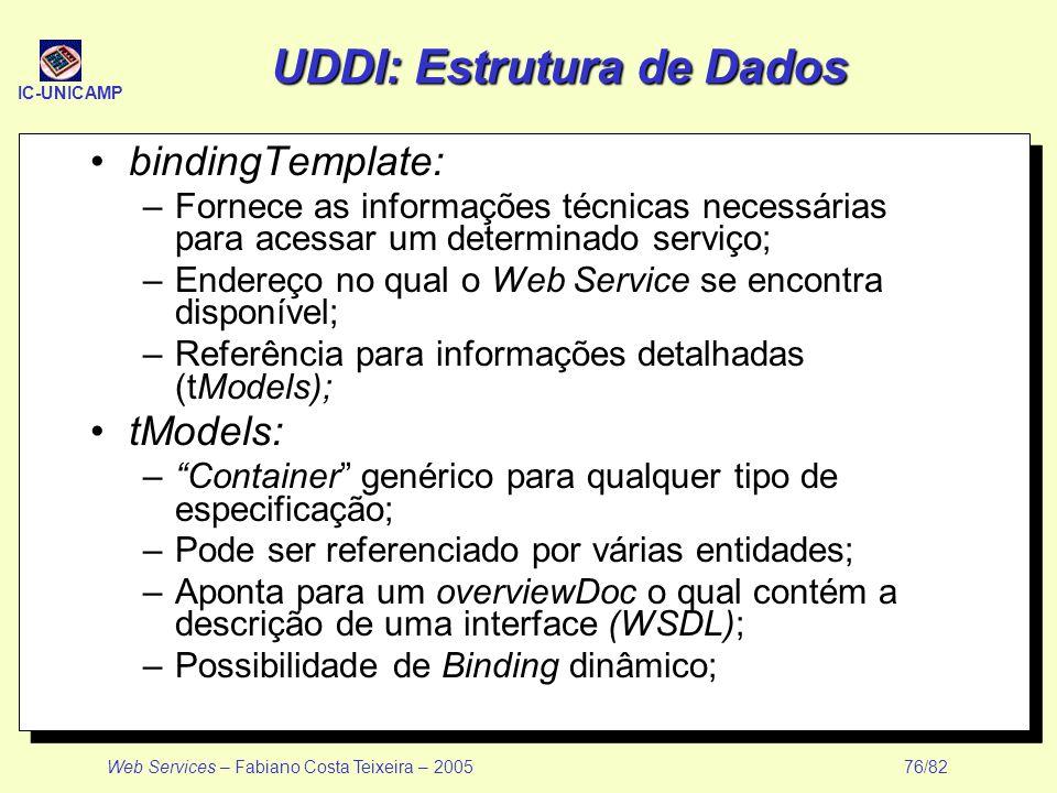 IC-UNICAMP Web Services – Fabiano Costa Teixeira – 2005 76/82 UDDI: Estrutura de Dados bindingTemplate: –Fornece as informações técnicas necessárias p