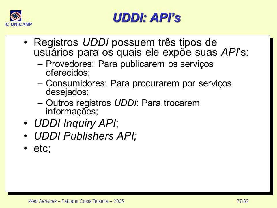 IC-UNICAMP Web Services – Fabiano Costa Teixeira – 2005 77/82 UDDI: APIs Registros UDDI possuem três tipos de usuários para os quais ele expõe suas AP
