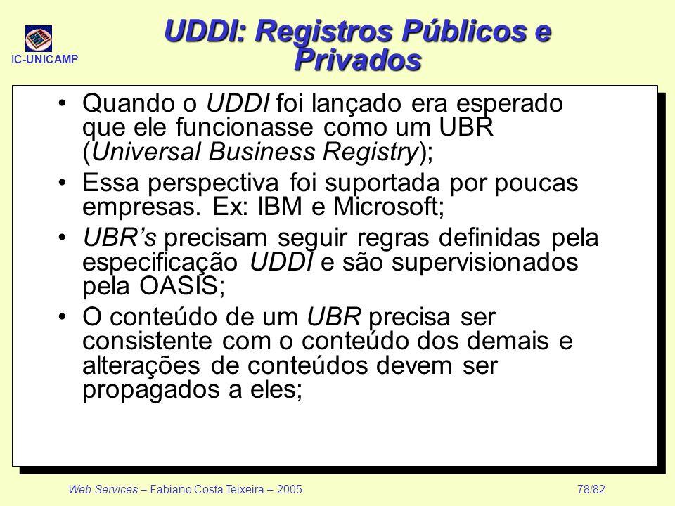 IC-UNICAMP Web Services – Fabiano Costa Teixeira – 2005 78/82 UDDI: Registros Públicos e Privados Quando o UDDI foi lançado era esperado que ele funci