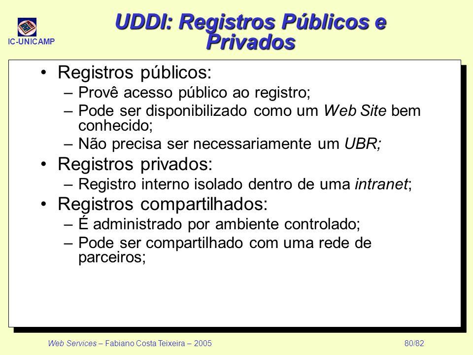 IC-UNICAMP Web Services – Fabiano Costa Teixeira – 2005 80/82 UDDI: Registros Públicos e Privados Registros públicos: –Provê acesso público ao registr