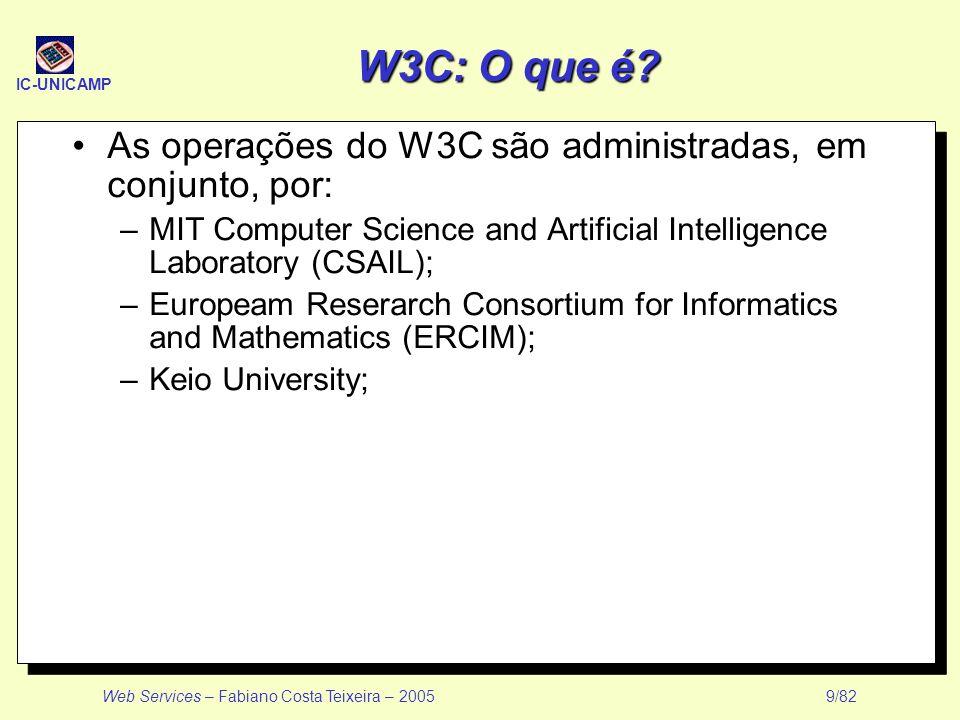 IC-UNICAMP Web Services – Fabiano Costa Teixeira – 2005 9/82 W3C: O que é? As operações do W3C são administradas, em conjunto, por: –MIT Computer Scie