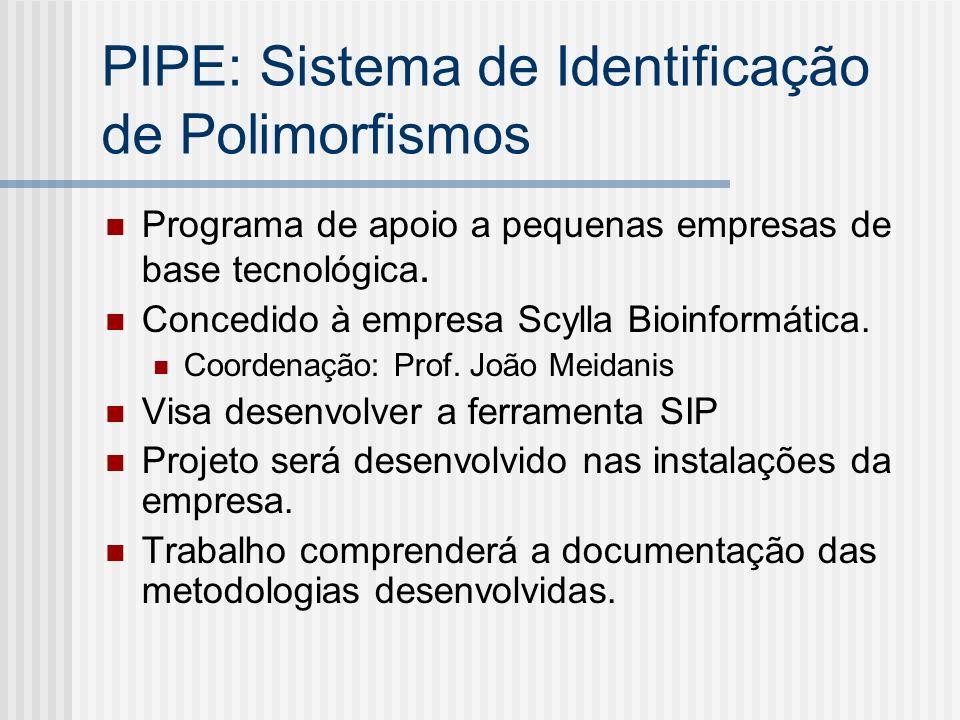 PIPE: Sistema de Identificação de Polimorfismos Programa de apoio a pequenas empresas de base tecnológica. Concedido à empresa Scylla Bioinformática.