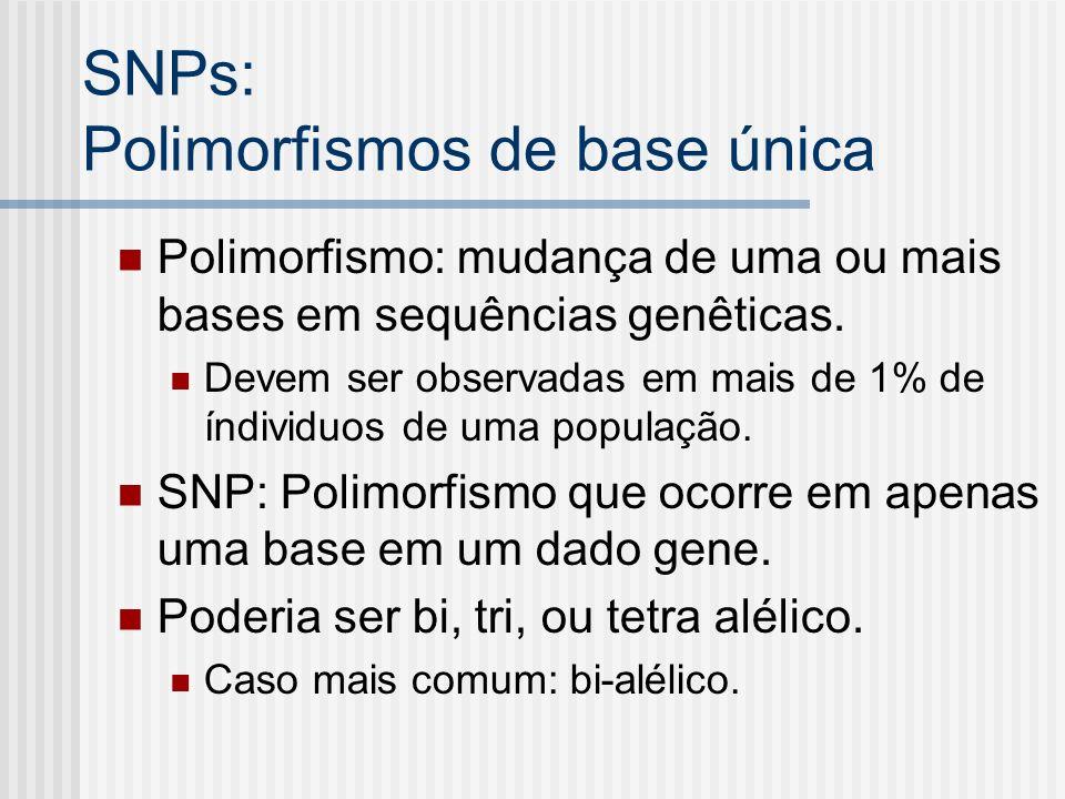 SNPs: Polimorfismos de base única Polimorfismo: mudança de uma ou mais bases em sequências genêticas. Devem ser observadas em mais de 1% de índividuos