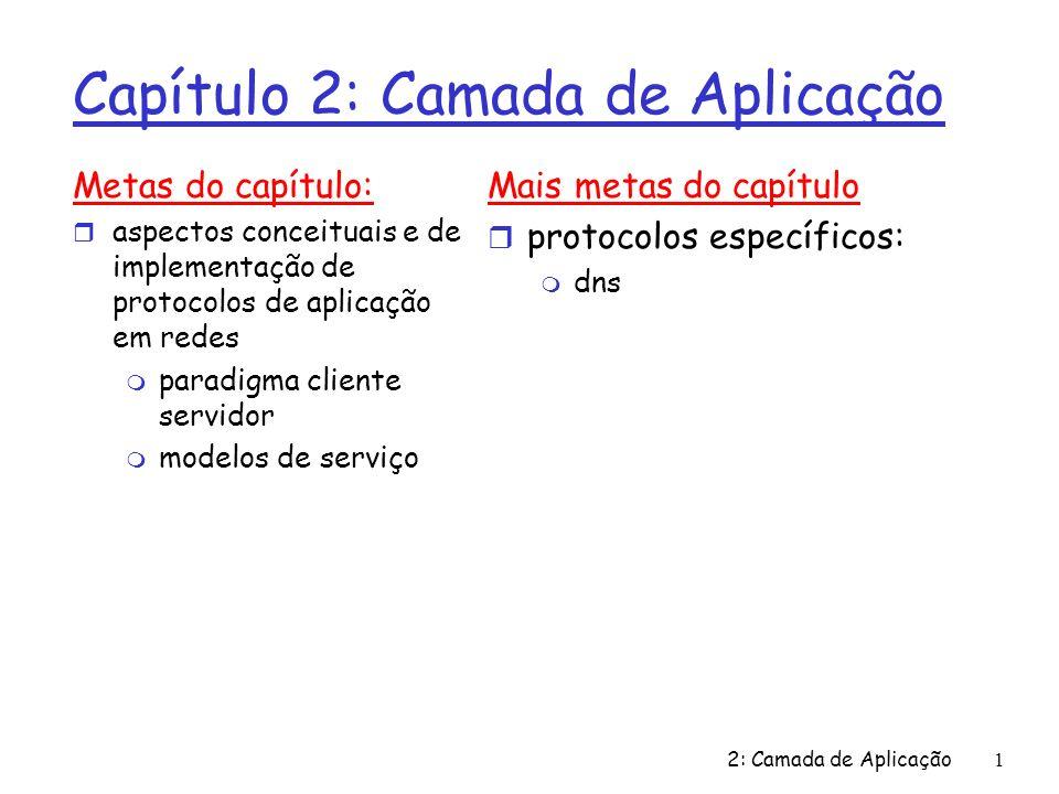 2: Camada de Aplicação 2 Aplicações e protocolos da camada de aplicação Aplicação: processos distribuídos em comunicação m executem em hospedeiros no espaço de usuário m trocam mensagens para implementar aplicação m p.ex., correio, transf.