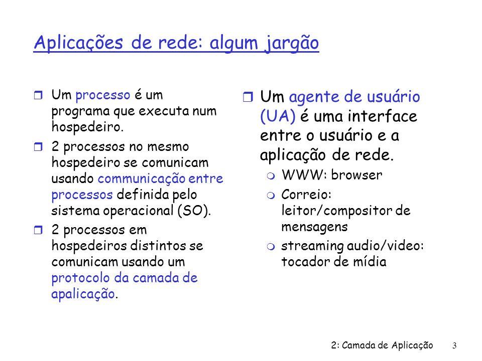 2: Camada de Aplicação 3 Aplicações de rede: algum jargão r Um processo é um programa que executa num hospedeiro. r 2 processos no mesmo hospedeiro se