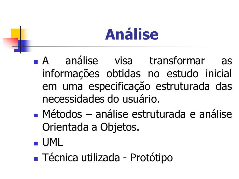 Análise A análise visa transformar as informações obtidas no estudo inicial em uma especificação estruturada das necessidades do usuário. Métodos – an