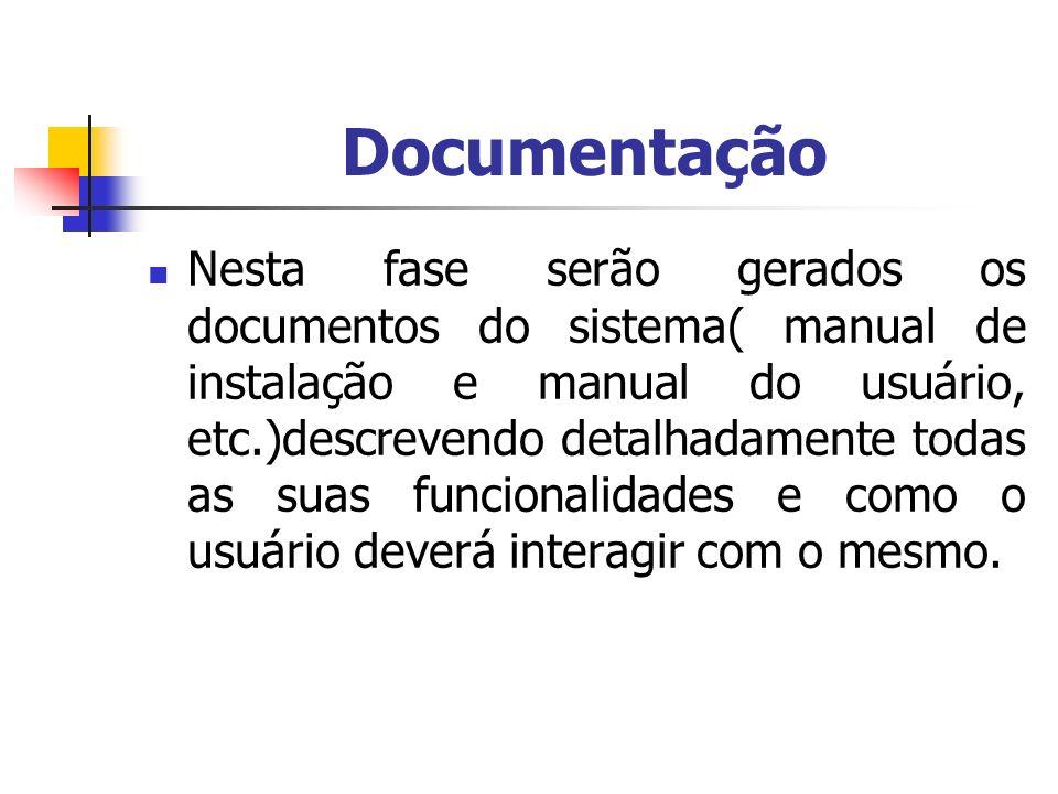Documentação Nesta fase serão gerados os documentos do sistema( manual de instalação e manual do usuário, etc.)descrevendo detalhadamente todas as sua