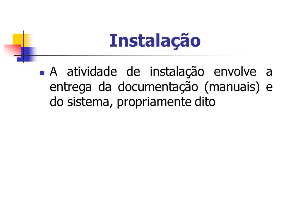 Instalação A atividade de instalação envolve a entrega da documentação (manuais) e do sistema, propriamente dito