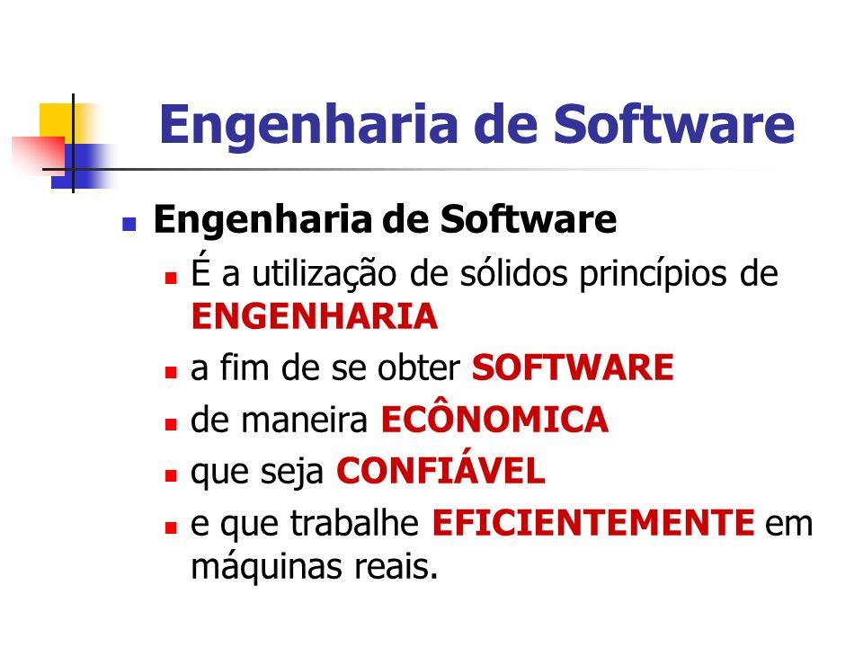 Engenharia de Software É a utilização de sólidos princípios de ENGENHARIA a fim de se obter SOFTWARE de maneira ECÔNOMICA que seja CONFIÁVEL e que tra