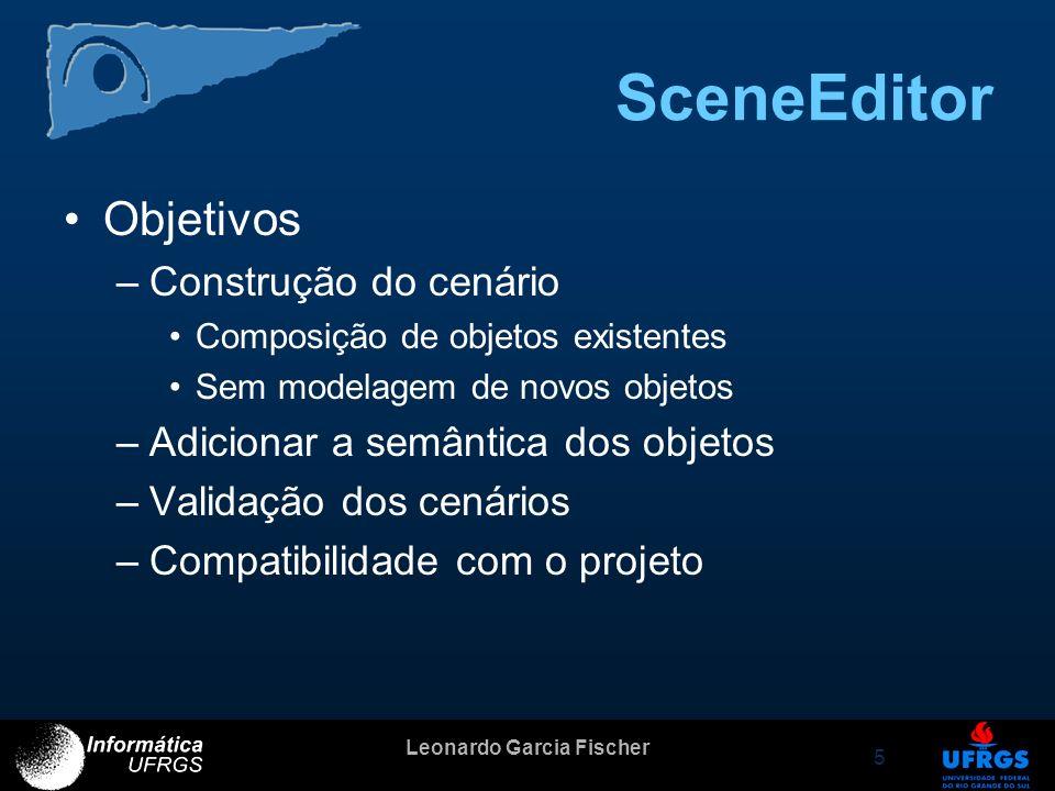 Leonardo Garcia Fischer 5 SceneEditor Objetivos –Construção do cenário Composição de objetos existentes Sem modelagem de novos objetos –Adicionar a se
