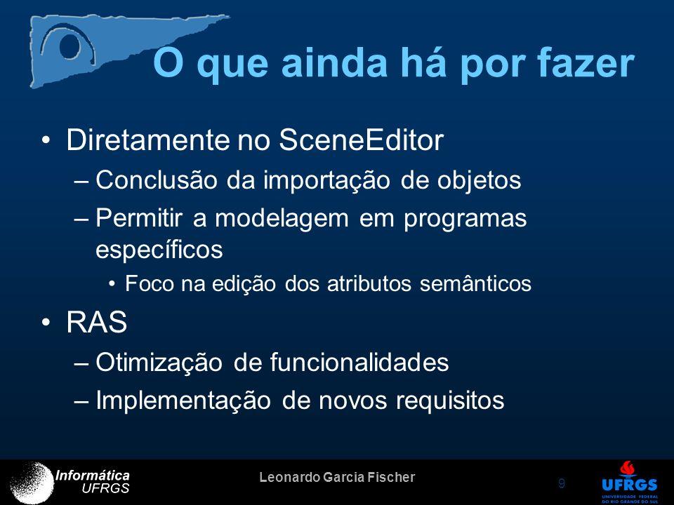 Leonardo Garcia Fischer 9 O que ainda há por fazer Diretamente no SceneEditor –Conclusão da importação de objetos –Permitir a modelagem em programas e