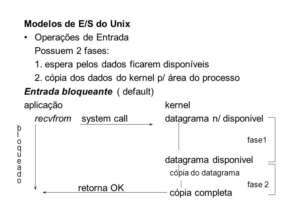 Modelos de E/S do Unix Operações de Entrada Possuem 2 fases: 1. espera pelos dados ficarem disponíveis 2. cópia dos dados do kernel p/ área do process