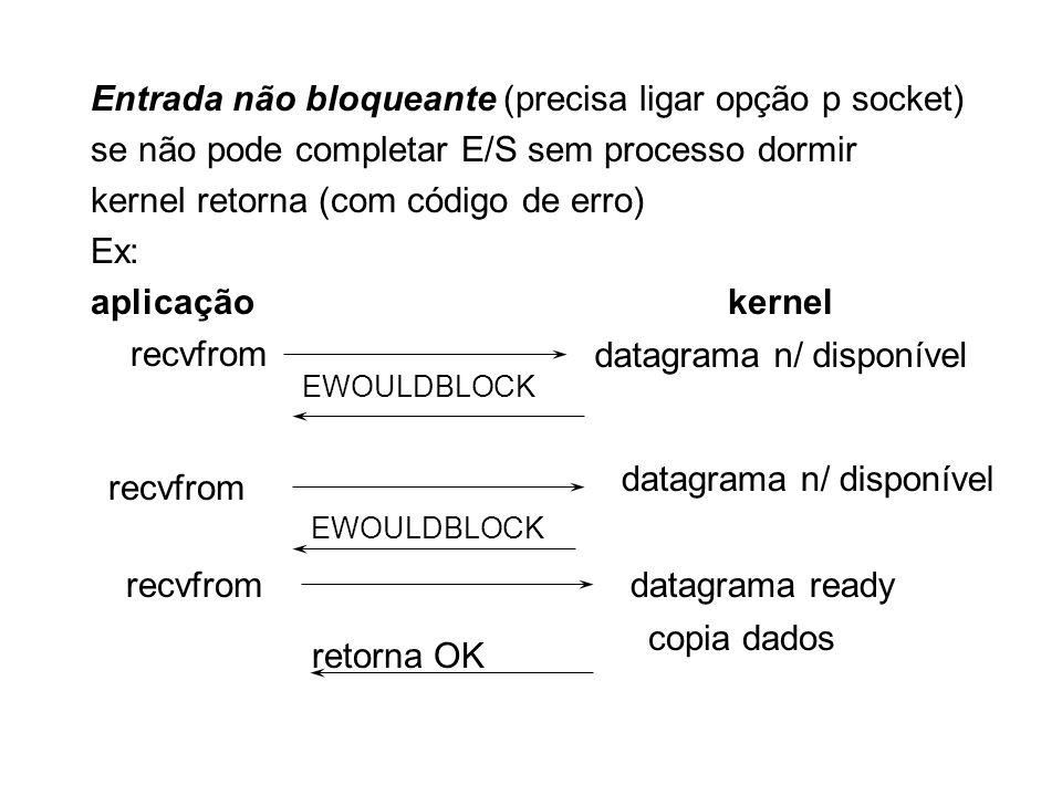 Entrada não bloqueante (precisa ligar opção p socket) se não pode completar E/S sem processo dormir kernel retorna (com código de erro) Ex: aplicaçãok