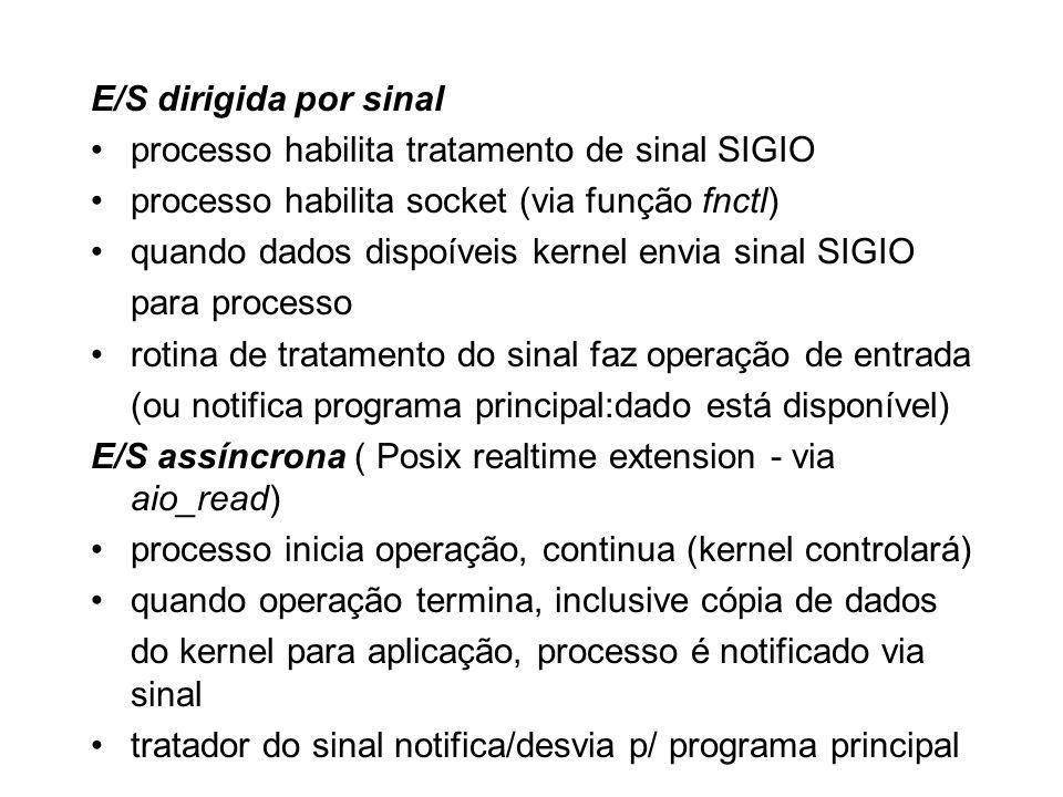 E/S dirigida por sinal processo habilita tratamento de sinal SIGIO processo habilita socket (via função fnctl) quando dados dispoíveis kernel envia si