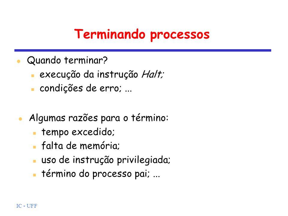 IC - UFF Terminando processos Quando terminar? execução da instrução Halt; condições de erro;... Algumas razões para o término: tempo excedido; falta