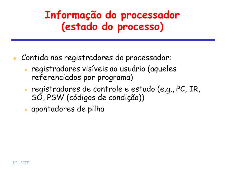 IC - UFF Informação do processador (estado do processo) Contida nos registradores do processador: registradores visíveis ao usuário (aqueles referenci