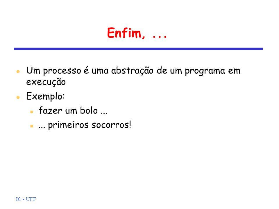 IC - UFF Enfim,... Um processo é uma abstração de um programa em execução Exemplo: fazer um bolo...... primeiros socorros!