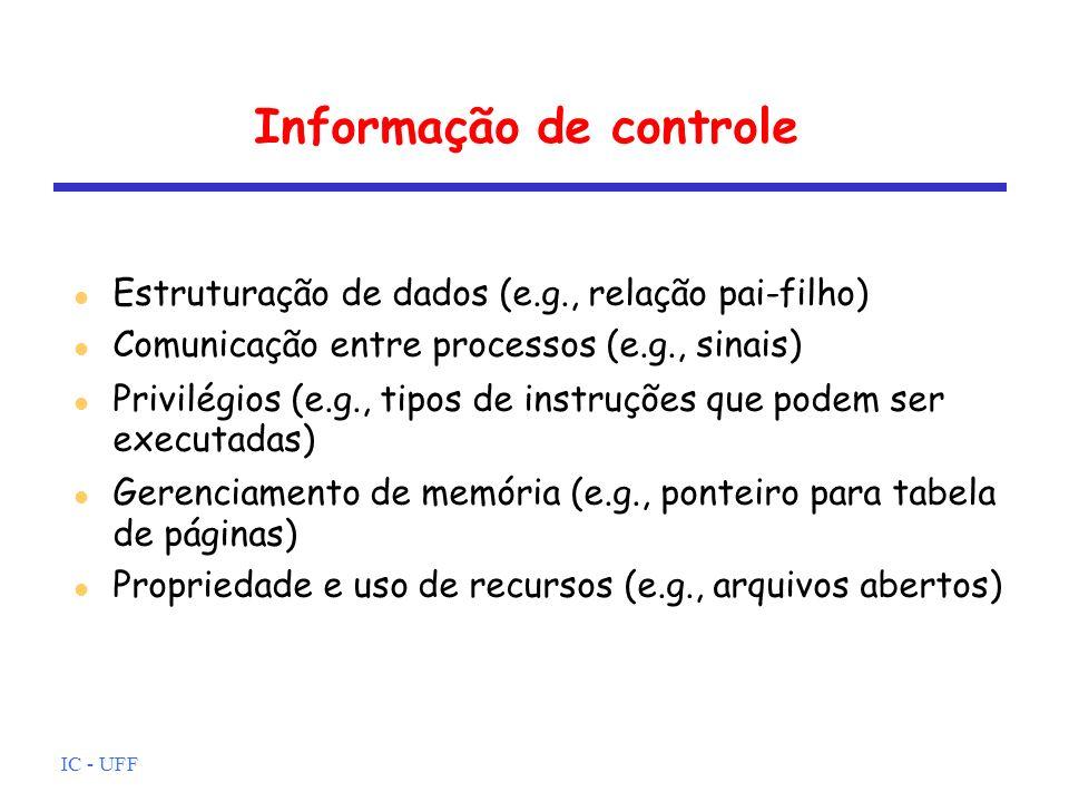 IC - UFF Informação de controle Estruturação de dados (e.g., relação pai-filho) Comunicação entre processos (e.g., sinais) Privilégios (e.g., tipos de