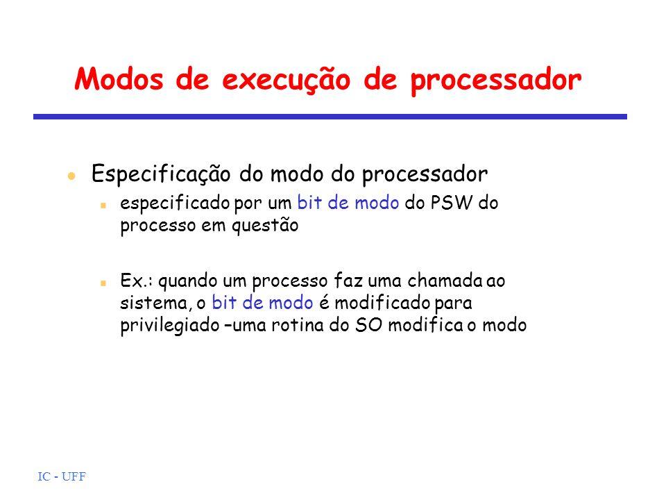 IC - UFF Modos de execução de processador Especificação do modo do processador especificado por um bit de modo do PSW do processo em questão Ex.: quan
