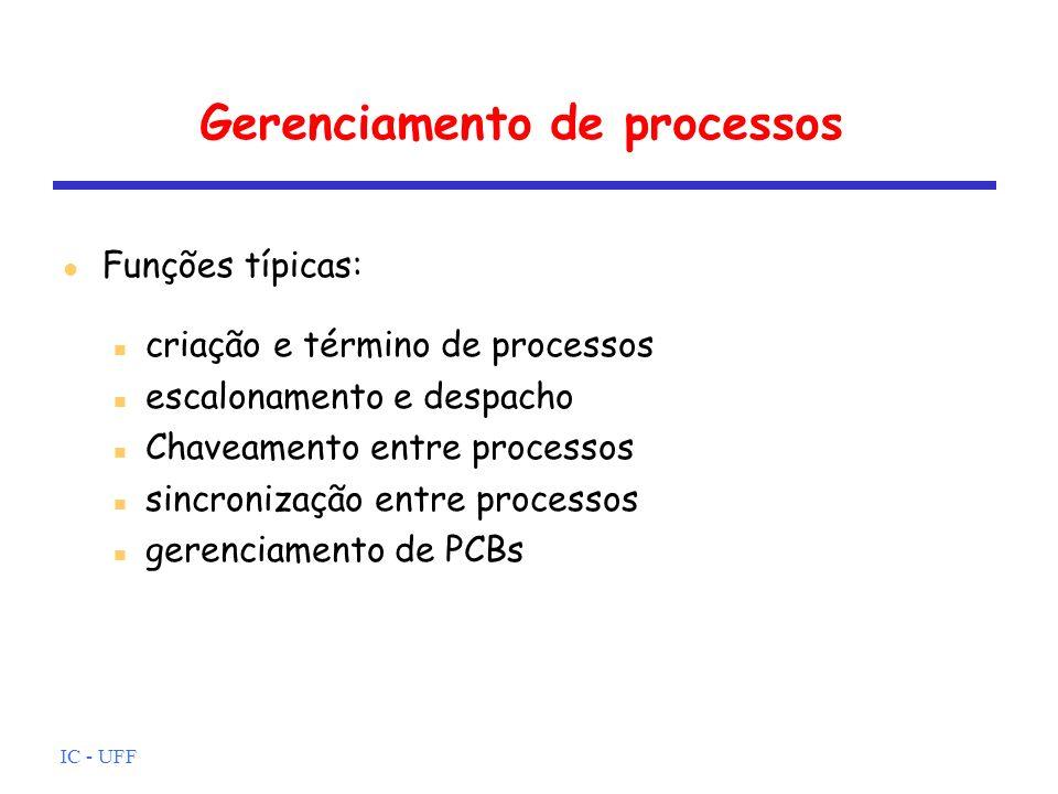 IC - UFF Gerenciamento de processos criação e término de processos escalonamento e despacho Chaveamento entre processos sincronização entre processos