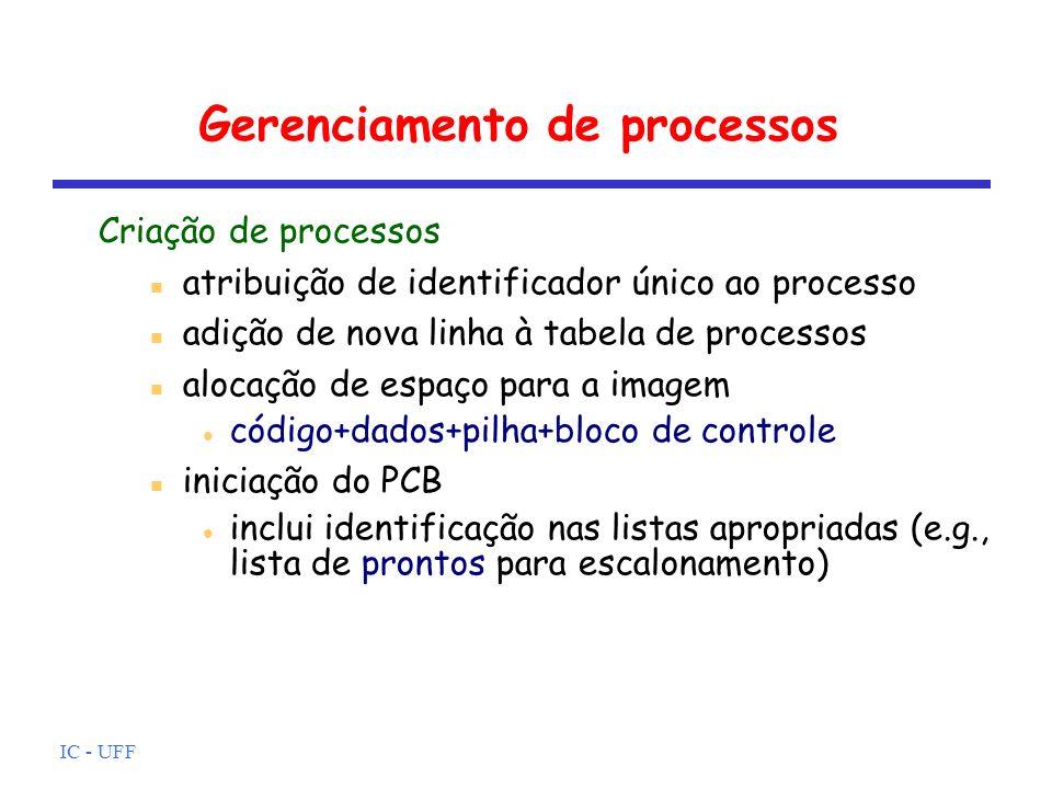 IC - UFF Gerenciamento de processos Criação de processos atribuição de identificador único ao processo adição de nova linha à tabela de processos aloc
