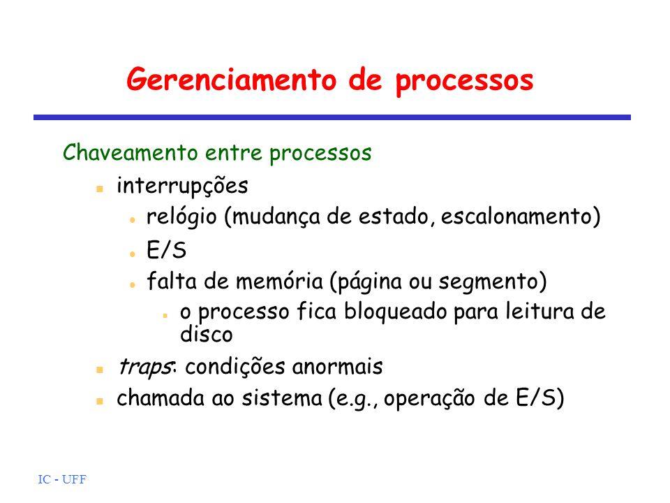 IC - UFF Gerenciamento de processos Chaveamento entre processos interrupções relógio (mudança de estado, escalonamento) E/S falta de memória (página o