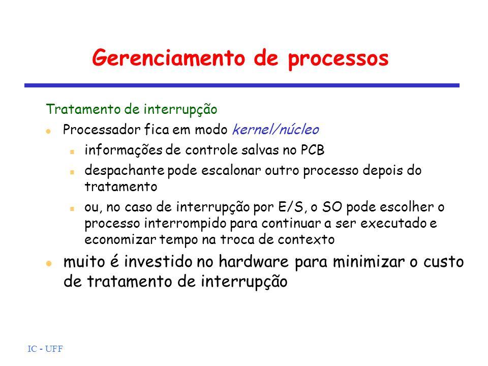 IC - UFF Gerenciamento de processos Tratamento de interrupção Processador fica em modo kernel/núcleo informações de controle salvas no PCB despachante