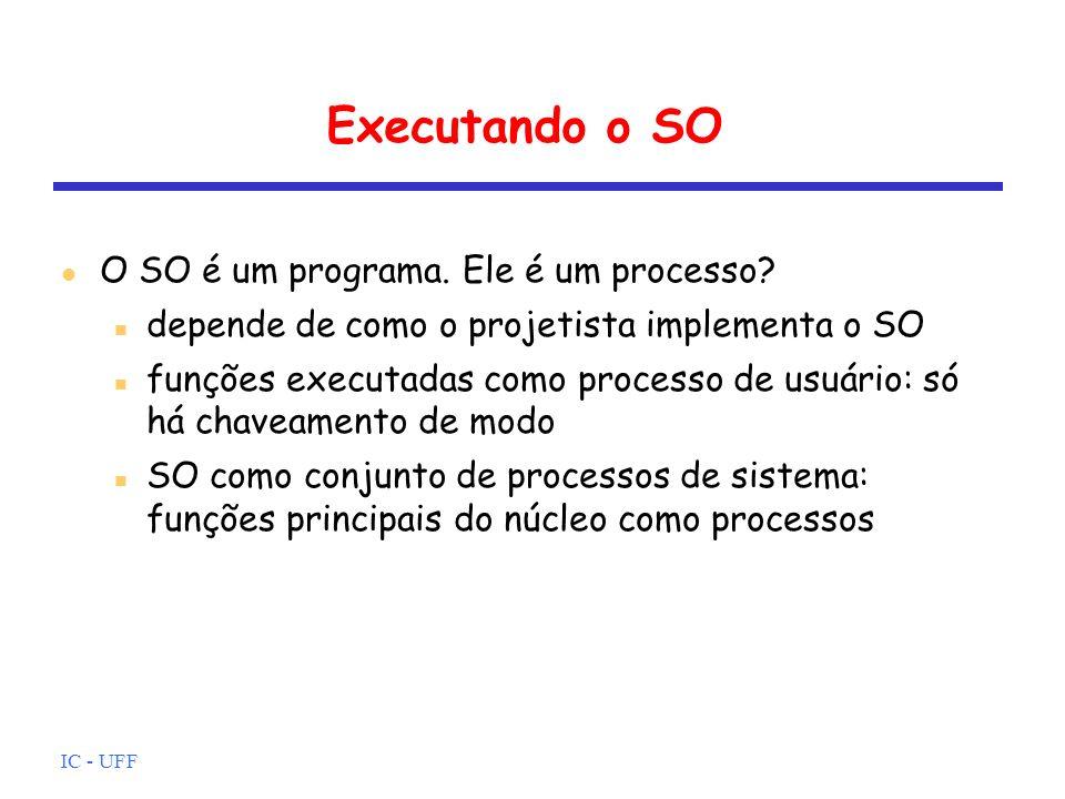 IC - UFF Executando o SO O SO é um programa. Ele é um processo? depende de como o projetista implementa o SO funções executadas como processo de usuár