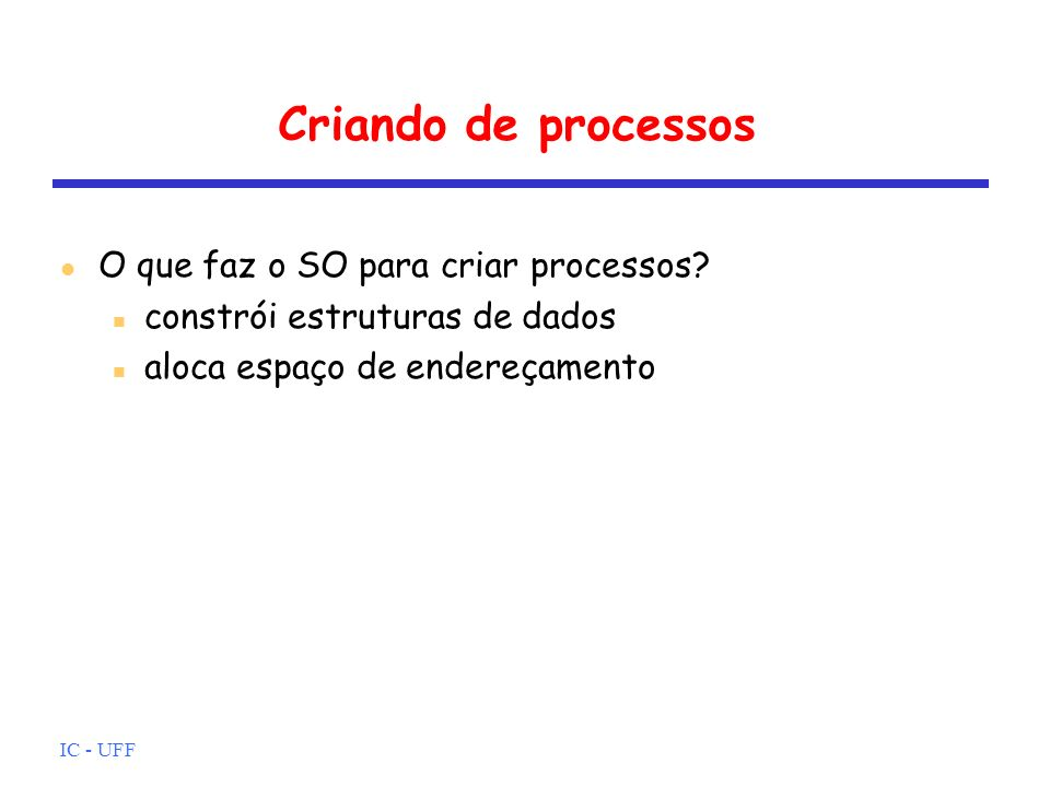 IC - UFF O estado Suspenso Swapping Necessidade de novo estado: representação de processo suspenso Imagem do processo sai temporariamente da MP Quando nenhum processo em MP está pronto (quase todos bloqueados esperando por eventos) É um operação de E/S Swapping-out SO seleciona um dos bloqueados para sair de MP SO seleciona um processo para MP