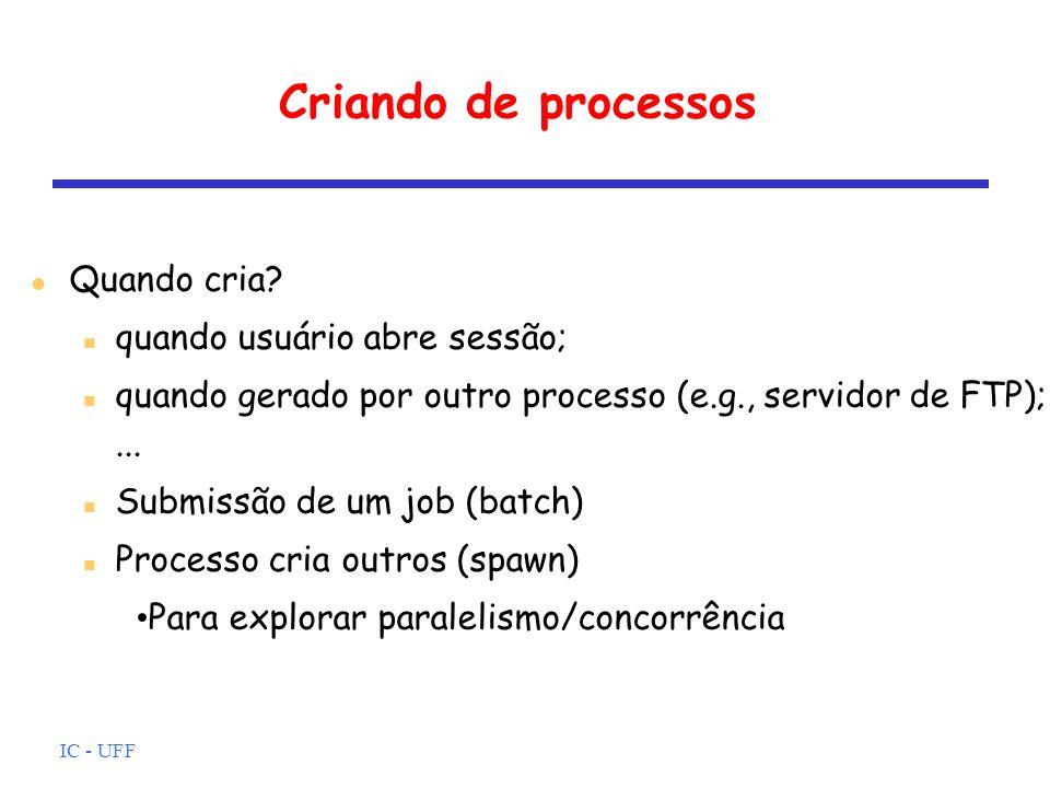 IC - UFF Informação de controle Estruturação de dados (e.g., relação pai-filho) Comunicação entre processos (e.g., sinais) Privilégios (e.g., tipos de instruções que podem ser executadas) Gerenciamento de memória (e.g., ponteiro para tabela de páginas) Propriedade e uso de recursos (e.g., arquivos abertos)