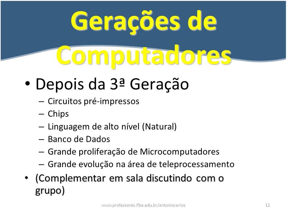 www.professores.ifba.edu.br/antoniocarlos13 Custos de Pessoal X Computador Computador Pessoal 10.000 1.000 100 10 607080Ano Custo