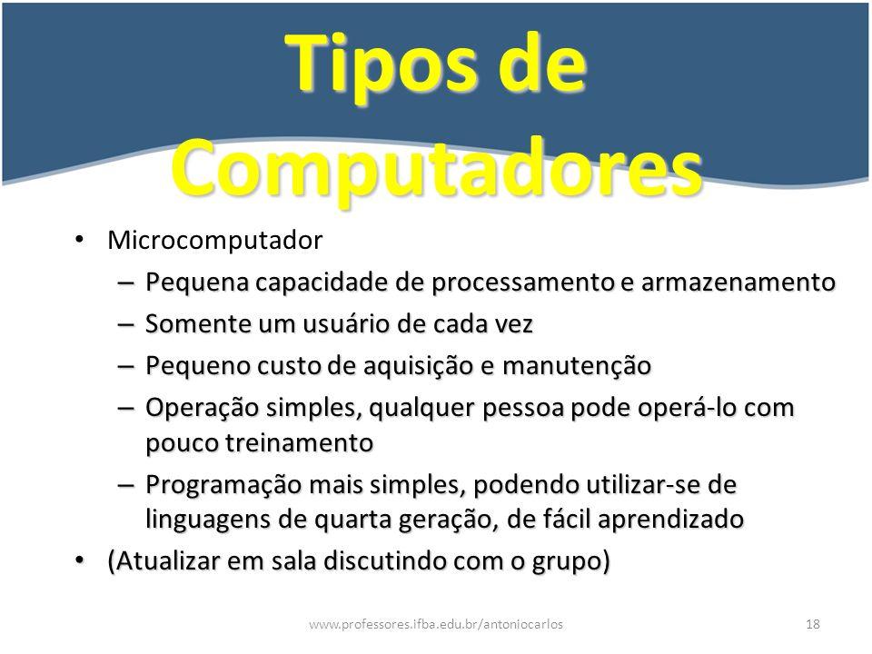 www.professores.ifba.edu.br/antoniocarlos19 Exemplo de Processamento de Dados Vejamos o que seria necessário para um funcionário emitir uma relação de salários de uma empresa.