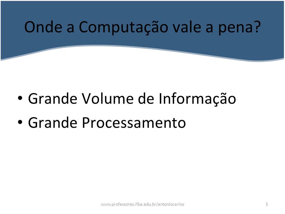 www.professores.ifba.edu.br/antoniocarlos6 Processamento de dados Convivemos no nosso dia a dia com processamento de dados.