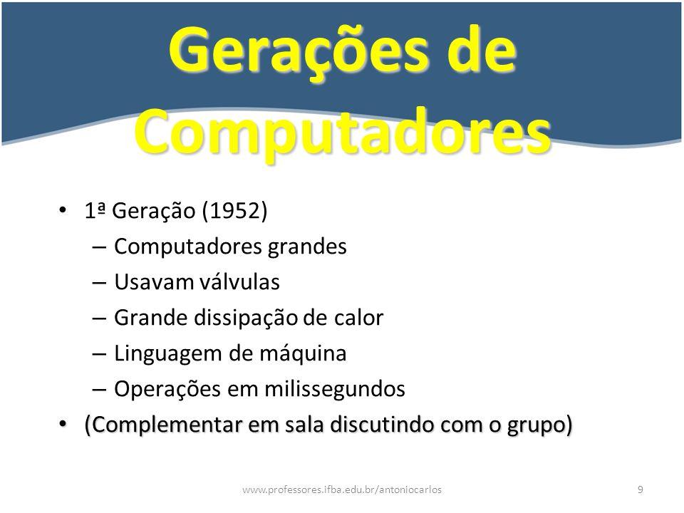 www.professores.ifba.edu.br/antoniocarlos10 Gerações de Computadores 2ª Geração (1959) – Usavam transístores – Diminui o problema com o calor – Comandos abreviados - mneumônicos – Operações em milionésimos de segundo.