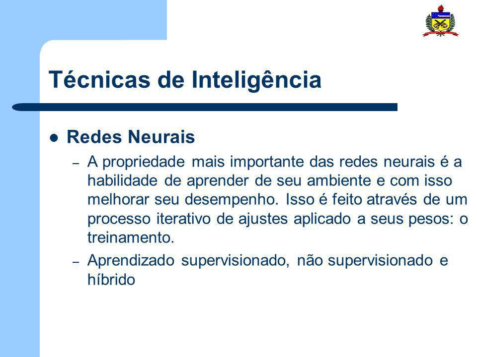 Técnicas de Inteligência Redes Neurais – A propriedade mais importante das redes neurais é a habilidade de aprender de seu ambiente e com isso melhora
