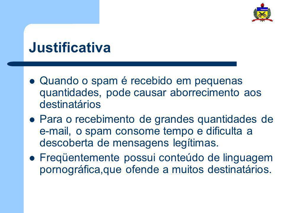 Justificativa Uma solução é a utilização de filtro de spam – Automáticos – Semi-automáticos Amplamente utilizados por ISP´s(provedores) O problema em utilizar esses filtros é que não se consegue obter 100% de precisão na taxa de detecção de spam Com isso vários métodos têm sido propostos para a implementação de filtros de spam