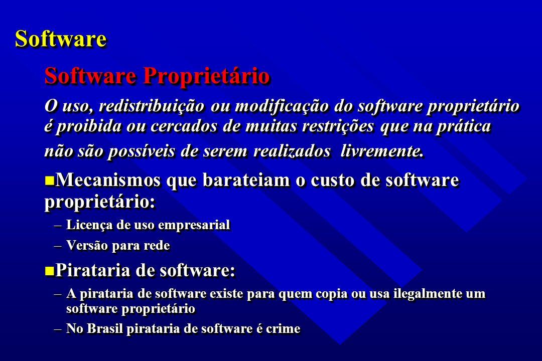 SoftwareSoftware Software Proprietário O uso, redistribuição ou modificação do software proprietário é proibida ou cercados de muitas restrições que n