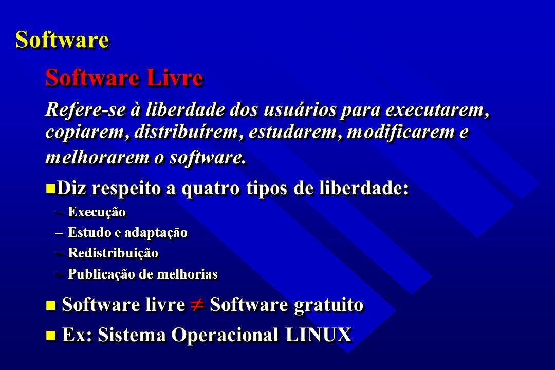 SoftwareSoftware Software Livre Refere-se à liberdade dos usuários para executarem, copiarem, distribuírem, estudarem, modificarem e melhorarem o soft