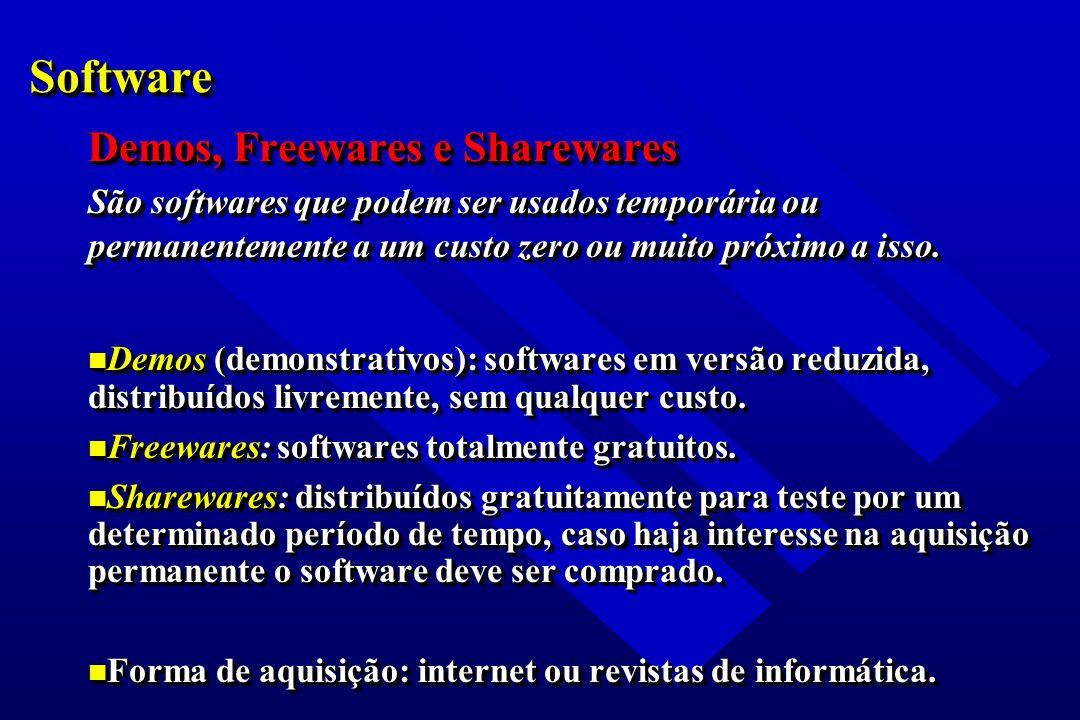 SoftwareSoftware Demos, Freewares e Sharewares São softwares que podem ser usados temporária ou permanentemente a um custo zero ou muito próximo a iss