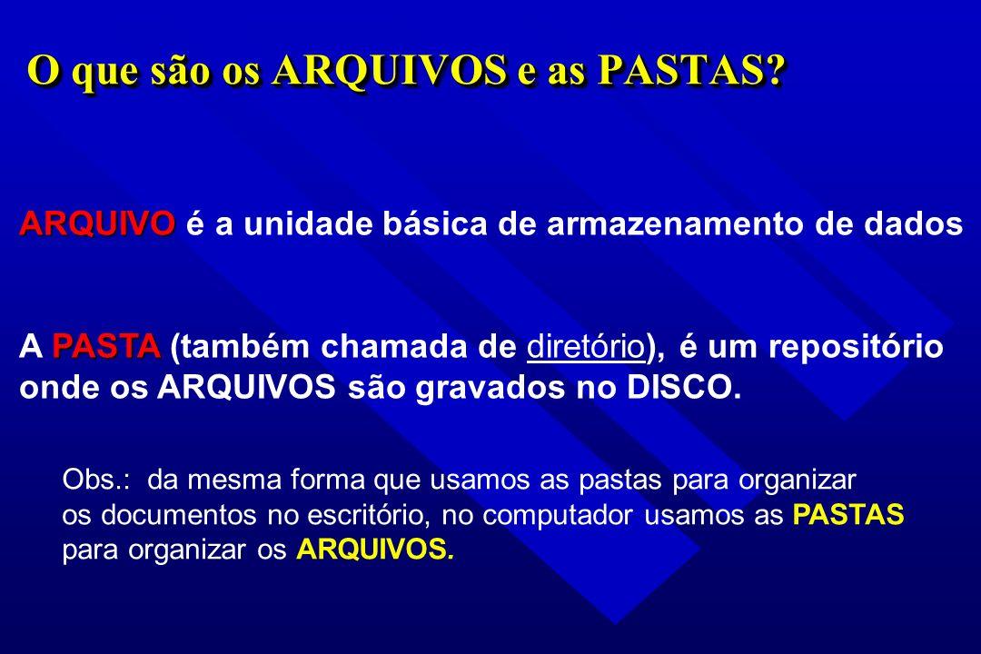 O que são os ARQUIVOS e as PASTAS? ARQUIVO ARQUIVO é a unidade básica de armazenamento de dados PASTA A PASTA (também chamada de diretório), é um repo