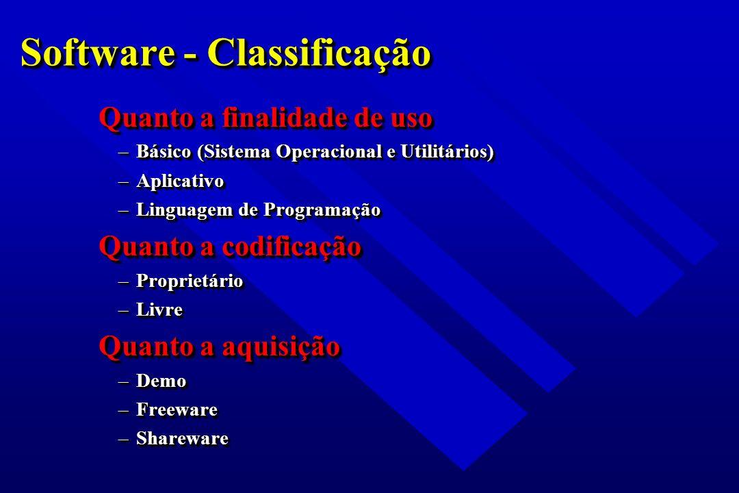 Software - Classificação Quanto a finalidade de uso –Básico (Sistema Operacional e Utilitários) –Aplicativo –Linguagem de Programação Quanto a codific