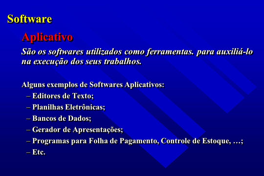 SoftwareSoftware Aplicativo São os softwares utilizados como ferramentas. para auxiliá-lo na execução dos seus trabalhos. Alguns exemplos de Softwares