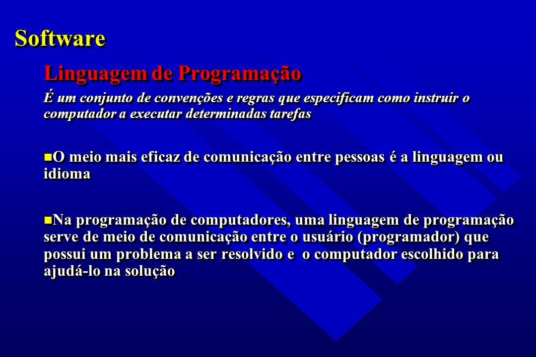 SoftwareSoftware Linguagem de Programação É um conjunto de convenções e regras que especificam como instruir o computador a executar determinadas tare