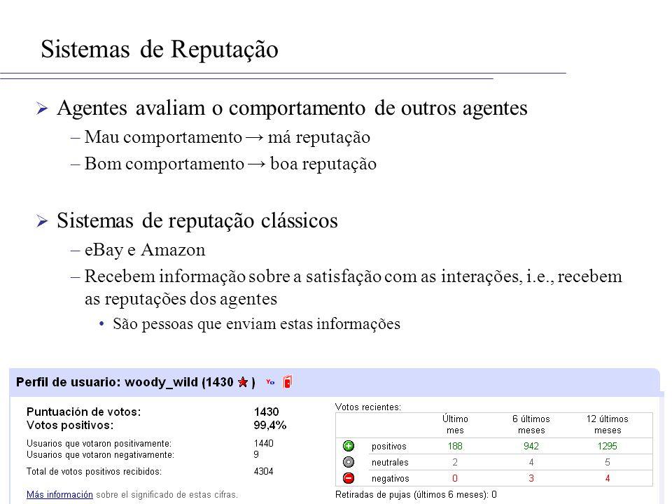 ISMA Sistemas de Reputação Agentes avaliam o comportamento de outros agentes –Mau comportamento má reputação –Bom comportamento boa reputação Sistemas