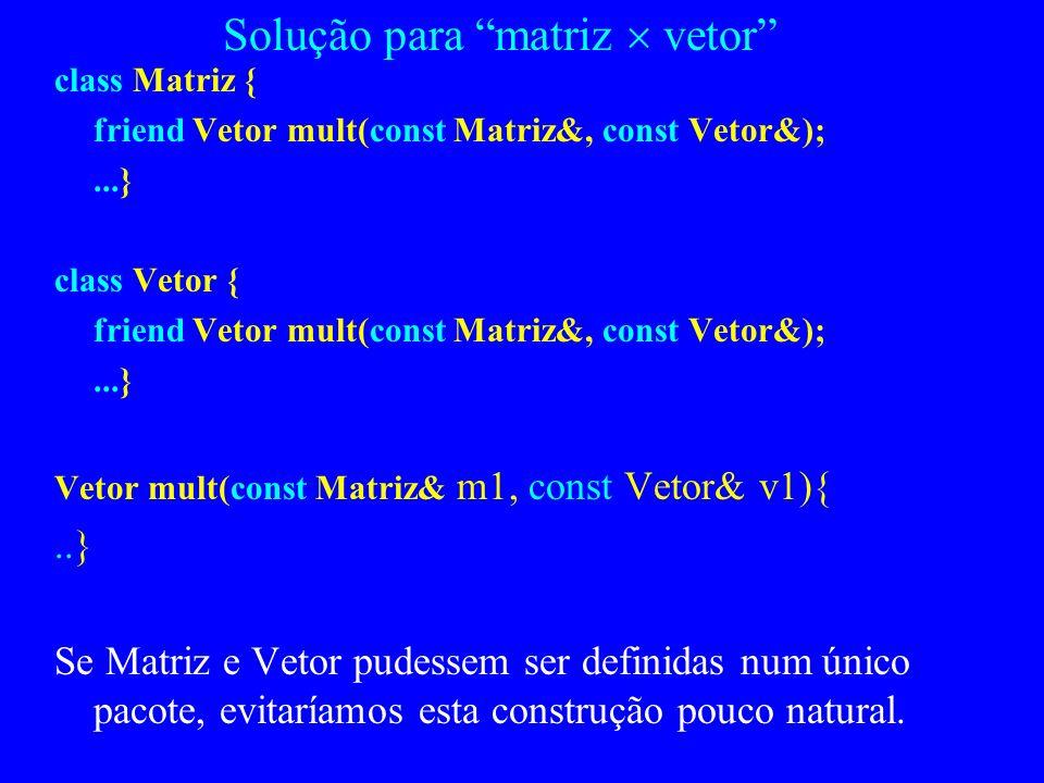 Avaliação das classes C++ As classes são tipos Não há construções de encapsulamento generalizadas Exemplo: temos uma classe matriz e uma classe vetor,