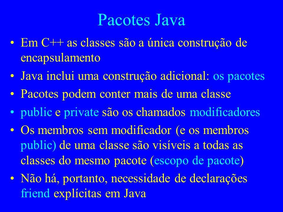 Java Suporte para tipos abstratos similar a C++ Todos os tipos de dados definidos pelo usuário são classes Todos os objetos são heap-dinâmicos e acess