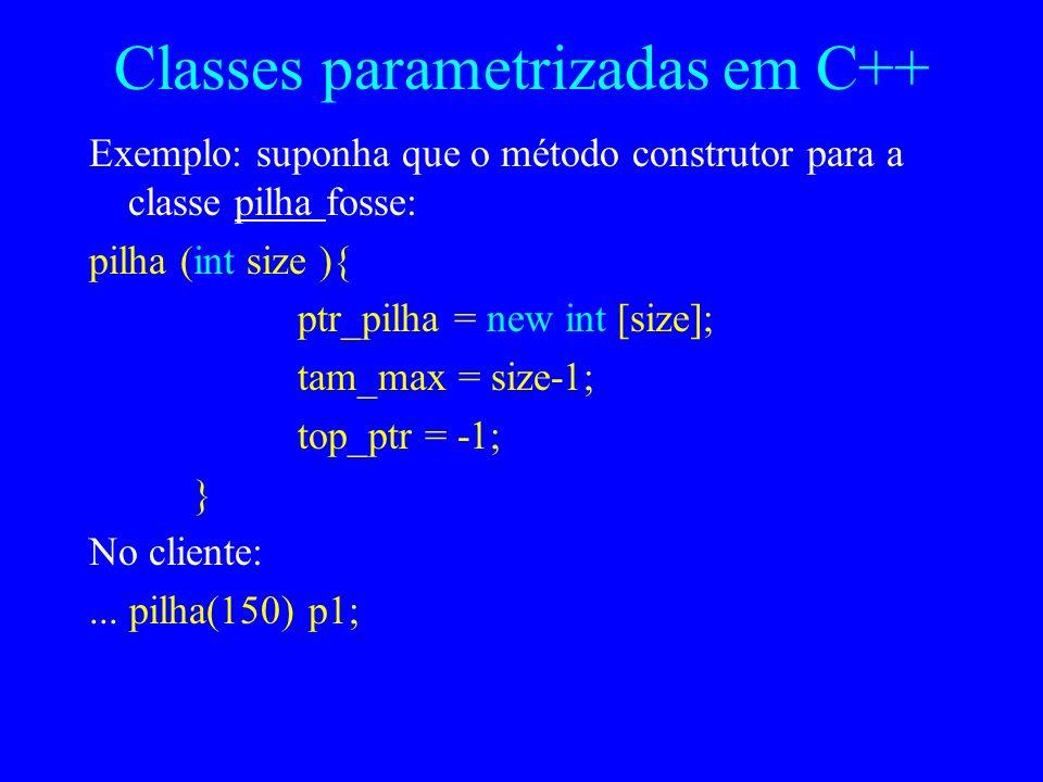 Exemplo (continuação) - uso da classe Pilha public class Testa_Pilha { public static void main (String [ ] args) { Pilha p1 = new Pilha( ); p1.push(42